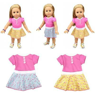 Doll Clothes Pink Dress Outfits Pajamas For 18 inch American Girl Our Generation
