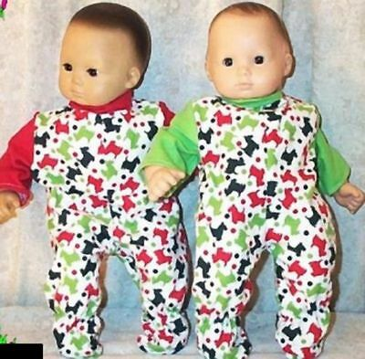 """Doll Clothes Baby Made 2 Fit American Girl Boy 15/"""" Bitty Twin Pajamas Bunnies"""