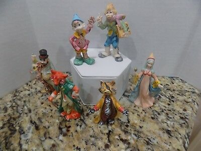 Vtg Lot of 6 Fontanini  Signed Depose Italy Pinoccho Charactors Spider Mark