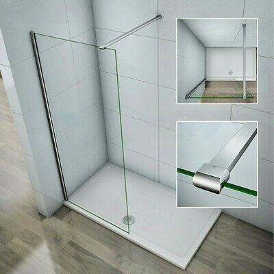 Aica Wet Room Shower Enclosure Screen Panel 8mm NANO Glass Telescopic Bar Chrome