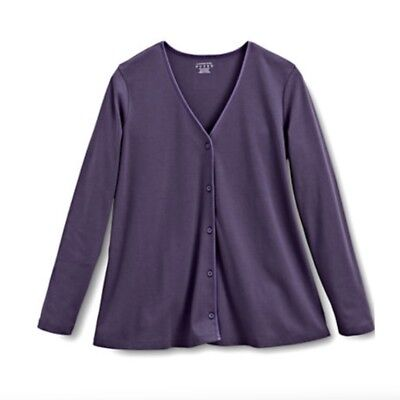 LANDS END Maternity Cardigan Buttons V-Neck Sweater SMALL-MED Loganberry Purple