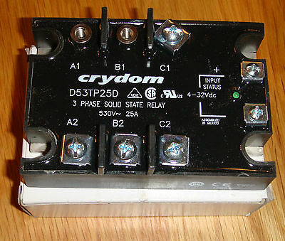 Crydom D53TP25D Solid state relay (New but Missing 2 screws/plates)