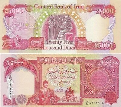 25,000 IRAQI DINAR NOTE, UNCIRCULATED, Official Currency! (IQD) Fast Delivery!