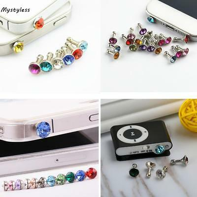 3.5mm Earphone Jack Artificial Diamond Anti Dust Plug Mobile Phone TCNT