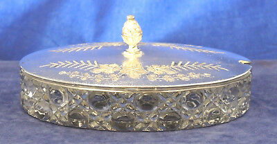 Antique Oval Hobnail Glass & Silver Plate Jam / Butter Dish #10