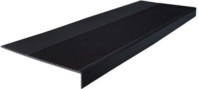 Outdoor Indoor Rubber Non Slip Stair Treads Cover Protector Black, 12 1/