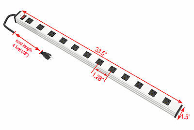 12 Outlet Power Strip Surge Protector Aluminum 300J AC15A 125V 1875W