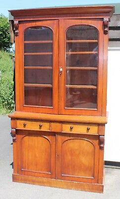 Victorian 2 Door Mahogany Chiffoniere bookcase with Glazed Display Top