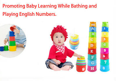 9 Stacking Leaning Cups Baby Kids Alphabet Blocks Toy Perfect Gift ideal 6 Month