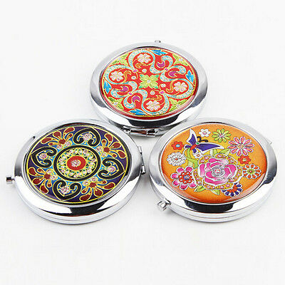 Crystal Folding Round Pocket Compact Makeup Cosmetic Mirror Portable Useful NL