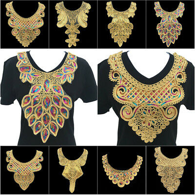Gold Lace Embroidered Flower Neckline Neck Collar Trim Clothes Sewing Applique