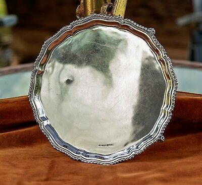 """Sterling George V. Four footed Silver Salver- Sheffield 1935 –10.5""""-17.5 Troy oz"""