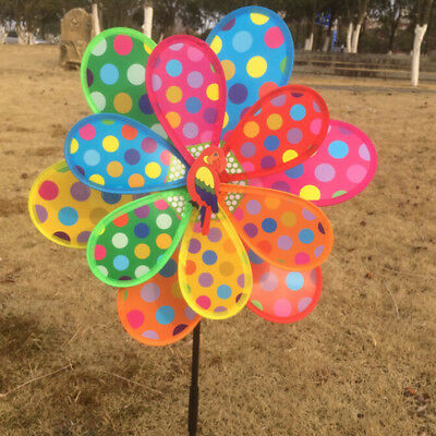 Multicolor Dots Windmill Garden Ornaments Wind Spinner Whirligig Kids PLy A2H