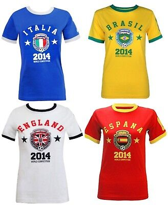 80cb6787a1a New Womens Ladies Girls World Cup 2014 Printed National Football Tshirt Top