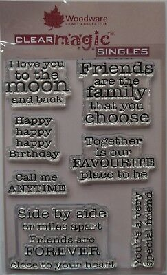 Woodware Clear Acrylic Stamp Set FRIENDSHIP sentiments  set of 7
