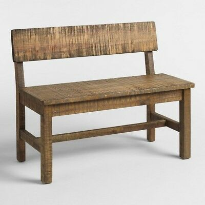 Solid Wood Bench Seat 2 Person Chair Rustic Distressed Weather Finish Entryway