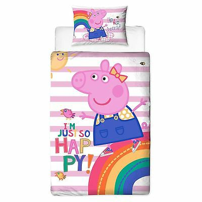 Peppa Pig Hooray Single Duvet Cover Set Panel Childrens - 2 In 1 Design