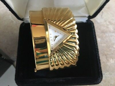 RARE Franklin Mint 22 Karat Gold Plate Egyptian Pyramid Watch Unique! Women's