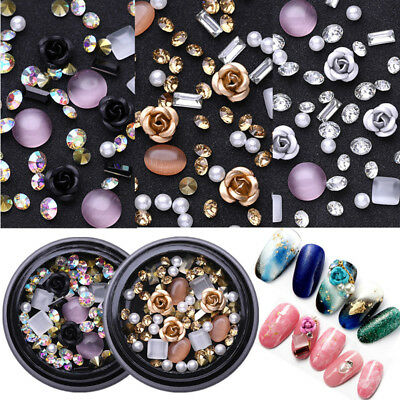 Metal Rose Round Opals Crystal Beads Nail Rhinestones 3D Nail Art Decoration DIY