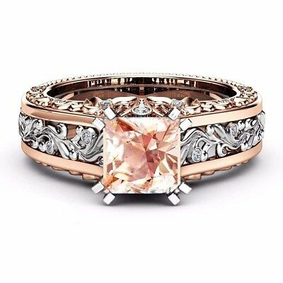 Women 925 Silver Plated White Topaz Sapphire 18k Rose Gold Filled Ring Sz 6-10