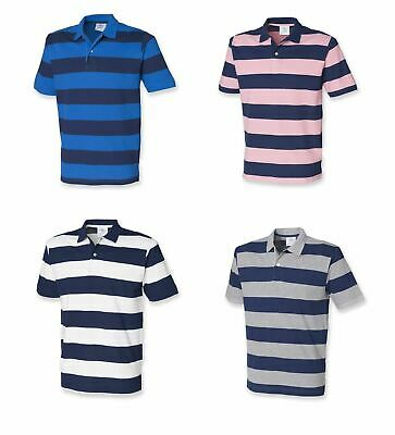Gents Front Row Striped Cotton Pique Mens Polo Shirt Tshirt Top FR210