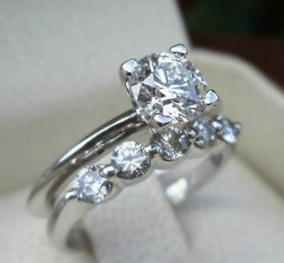 Certified 2.15Ct Round Cut Diamond Solitaire Engagement Ring Set 14K White Gold