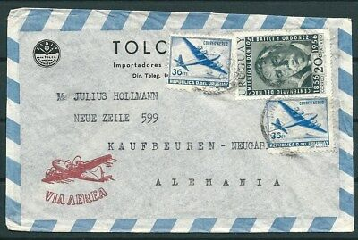 Uruguay 1956? Cover To Germany, Nice Stamps And Postmarks -Cag 300914