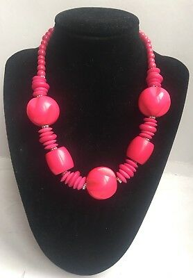Funky Chunky Hot Pink Summer Resin Necklace - UK Seller
