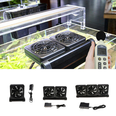 Aquarium Chillers Cooling Fan (1/2/3 fans) Fish Tank+Power Adapter 12V US Plug
