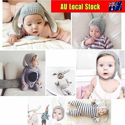 Winter Baby Toddler Kids Boy Girl Knitted Rabbit Crochet Ear Beanie Warm Hat BN