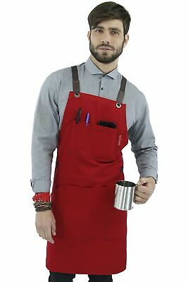 Work Apron - Red Professional Twill, Leather Trim, CrossBack, Chef, Bartender, S
