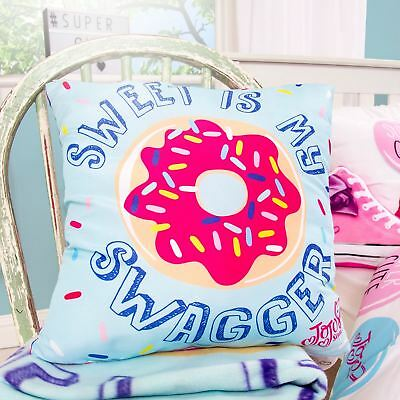 Jojo Siwa Bow Sweet Doughnut Cushion Girls Turquoise Pink - 2 Designs In 1