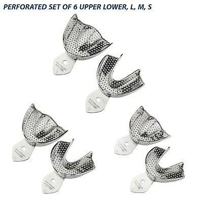 Dental Impression Trays Rim Lock Perforated (Set of 6) L, M, S Upper / Lower Set