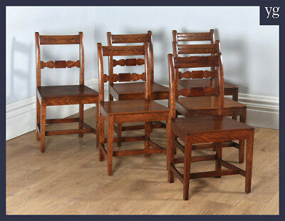 Antique Set Six 6 Georgian Regency Cottage Oak Elm Kitchen Dining Chairs c.1830