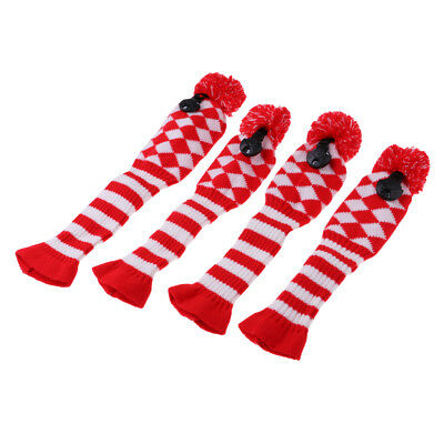 4Pcs Knitted Pom Pom Headcover Wool Golf Club Head Cover for Driver Fairway