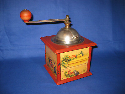 Lovely French Antique Red Coffee Grinder By Broyeur Acier Brevete