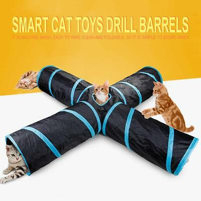 Crinkle Leopard Pet Cat Tunnel Collapsible Play Tubes Toys Kitten Rabbit Tunnels