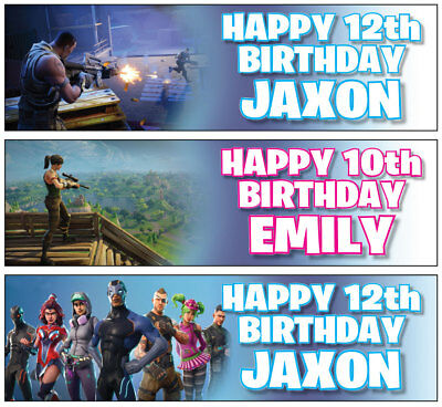 """2 PERSONALISED FORTNITE BIRTHDAY BANNER 36 """"x 11"""" - ANY NAME, ANY AGE"""
