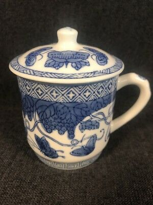 PV02327 Lidded Chinese BLUE & WHITE BUTTERFLY Cup / Mug with Two Extra Lids