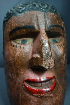 Vintage Hand Carved Traditional Viejo Dance Mask from Rabinal, Guatemala