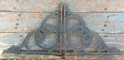 "Pair Antique 18""x16"" Ornate 1890s Victorian Vtg Cast Iron Wall Shelf Brackets"