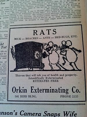 Feb 10, 1937 Newspaper #2568- Orkin Exterminating- Rats, Mice, Roaches, Bed-Bugs