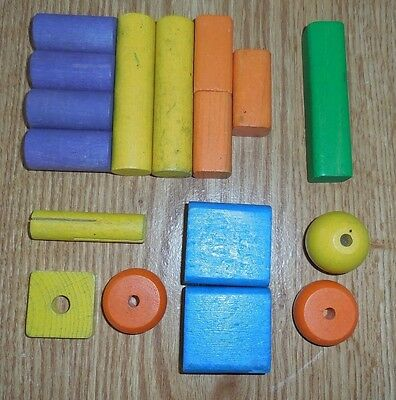 Vintage Wooden Playing Block In An Assortment of Shapes and Colors