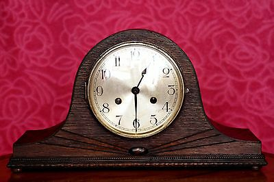Vintage Art Deco German 8-Day Mantel Clock with Chimes
