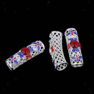 3 Pcs Tibetan Silver Curved Tube Charms Pendants Bracelet Connector Findings