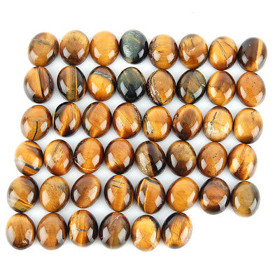 176 Cts/46 Pcs Untreated Natural Tiger Eye Oval Cabochon Gemstones ~ Wholesale