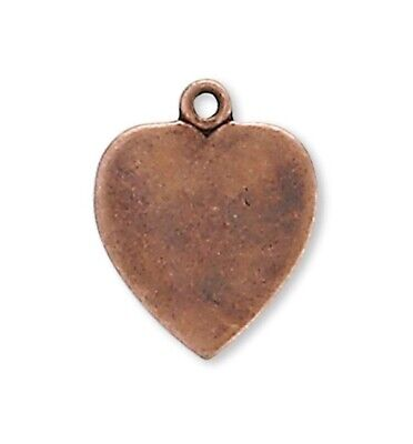 10 Antiqued Copper Plated Brass 11x10mm Heart Drop Charms