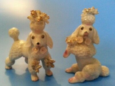 "Vintage Japan Spaghetti White POODLE DOG Porcelain 4"" Tall Figurines Pair"