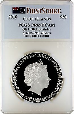 2016 $20 Cook Islands Silver 90th Birthday QE II 3oz. PCGS PR69DCAM First Strike
