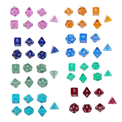 7pcs/Set Polyhedral D4-D20 Acrylic Dices for TRPG Game Dungeons & Dragons 8Color